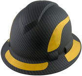 Pyramex Ridgeline Full Brim Style Hard Hat with Matte Black Graphite Pattern with Yellow Decals - Oblique View