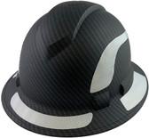 Pyramex Ridgeline Full Brim Style Hard Hat with Matte Black Graphite Pattern with White Decals - Oblique View