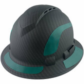 Pyramex Ridgeline Full Brim Style Hard Hat with Vented Matte Black Graphite Pattern with Green Decals - Oblique View