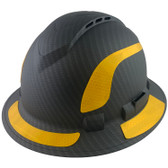 Pyramex Ridgeline Full Brim Style Hard Hat with Vented Matte Black Graphite Pattern with Yellow Decals - Oblique View