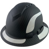 Pyramex Ridgeline Full Brim Style Hard Hat with Vented Matte Black Graphite Pattern with White Decals - Oblique View