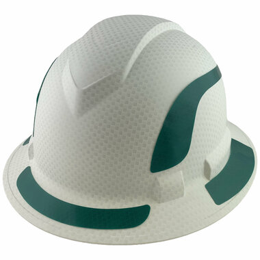 Pyramex Ridgeline Full Brim Style Hard Hat with Matte White Graphite Pattern with Green Decals - Oblique View