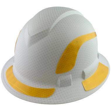 Pyramex Ridgeline Full Brim Style Hard Hat with Matte White Graphite Pattern with Yellow Decals - Oblique View