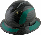 Pyramex Ridgeline Full Brim Style Hard Hat with Shiny Black Graphite Pattern with Green Decals - Oblique View