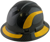 Pyramex Ridgeline Full Brim Style Hard Hat with Shiny Black Graphite Pattern with Yellow Decals - Oblique View