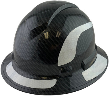 Pyramex Ridgeline Full Brim Style Hard Hat with Shiny Black Graphite Pattern with White Decals - Oblique View