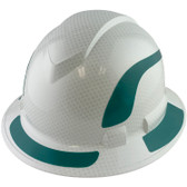 Pyramex Ridgeline Full Brim Style Hard Hat with Shiny White Graphite Pattern with Green Decals - Oblique View