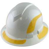 Pyramex Ridgeline Full Brim Style Hard Hat with Shiny White Graphite Pattern with Yellow Decals - Oblique View