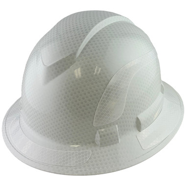 Pyramex Ridgeline Full Brim Style Hard Hat with Shiny White Graphite Pattern with White Decals - Oblique View