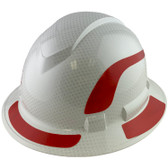 Pyramex Ridgeline Full Brim Style Hard Hat with Shiny White Graphite Pattern with Red Decals - Oblique View
