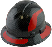 Pyramex Ridgeline Full Brim Style Hard Hat with Shiny Black Graphite Pattern with Red Decals - Oblique View