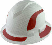 Pyramex Ridgeline Full Brim Style Hard Hat with Matte White Graphite Pattern with Red Decals - Oblique View