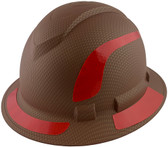 Pyramex Ridgeline Full Brim Style Hard Hat with Copper Pattern with Red Decals - Oblique View
