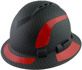 Pyramex Ridgeline Full Brim Style Hard Hat with Vented Matte Black Graphite Pattern with Red Decals - Oblique View