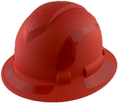 Pyramex Ridgeline Full Brim Style Hard Hat with Red Pattern with Red Decals - Oblique View
