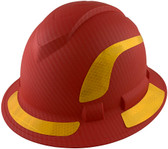 Pyramex Ridgeline Full Brim Style Hard Hat with Red Pattern with Yellow Decals - Oblique View