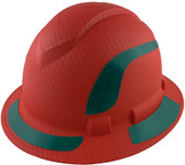 Pyramex Ridgeline Full Brim Style Hard Hat with Red Pattern with Green Decals - Oblique View