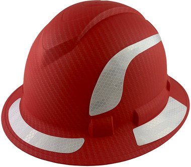 Pyramex Ridgeline Full Brim Style Hard Hat with Red Pattern with White Decals - Oblique View