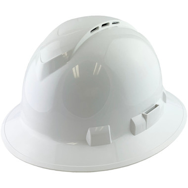 Pyramex Ridgeline Vented White Full Brim Style Hard Hat - 4 Point Suspensions - Oblique View