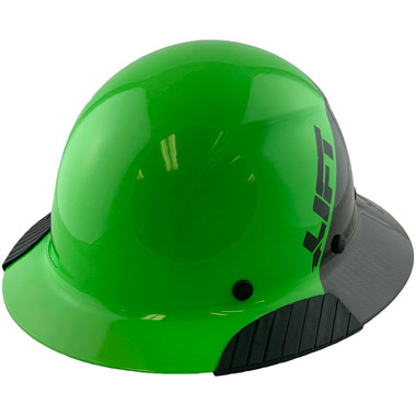 Actual Carbon Fiber Hard Hat - Full Brim Glossy Black and Green - Oblique View