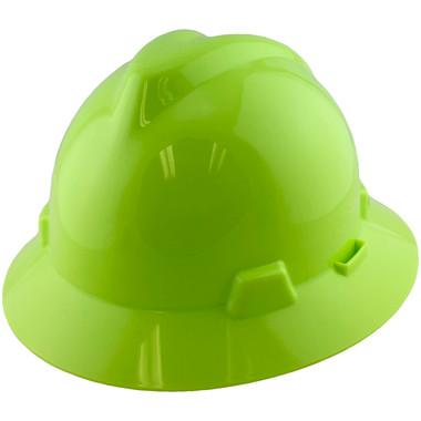 MSA V-Gard Full Brim Hard Hats with Staz On Suspensions Hi-Viz Yellow Green - Oblique View