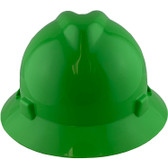MSA V-Gard Full Brim Hard Hats with Staz On Suspensions Lime Green - Front View