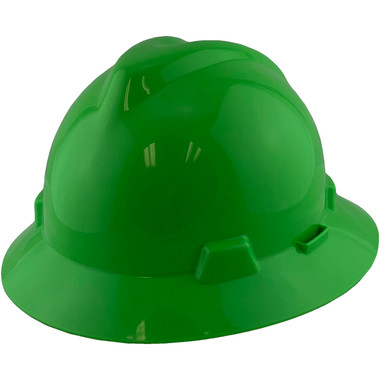 MSA V-Gard Full Brim Hard Hats with Fas-Trac Suspensions Lime Green - Oblique View