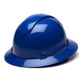 Pyramex Full Brim RIDGELINE Hard Hat Blue 4 Point Suspensions Oblique view