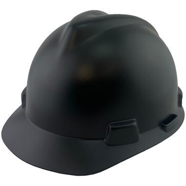 MSA V-Gard Cap Style Hard Hats with Fas-Trac Suspensions Matte Black - Oblique View