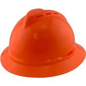 MSA Advance Full Brim Vented Hard hat with 4 point Ratchet Suspension Hi Viz Orange - Oblique View
