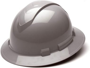 Pyramex Full Brim RIDGELINE Hard Hat Gray 4 Point Suspensions Oblique view