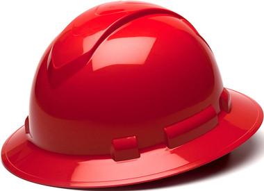 Pyramex Full Brim RIDGELINE Hard Hat Red 4 Point Suspensions Oblique view