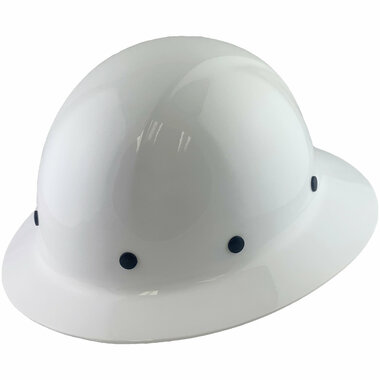 Dynamic Wofljaw Full Brim Fiberglass Hard Hat with 8 Point Ratchet Suspension - White - Oblique View