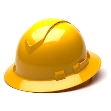 Pyramex Ridgeline Vented Yellow Full Brim Style Hard Hat - 4 Point Suspensions - Oblique View