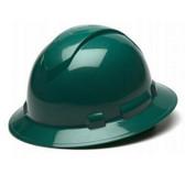 Pyramex Full Brim RIDGELINE Hard Hat Green 4 Point Suspensions Oblique view
