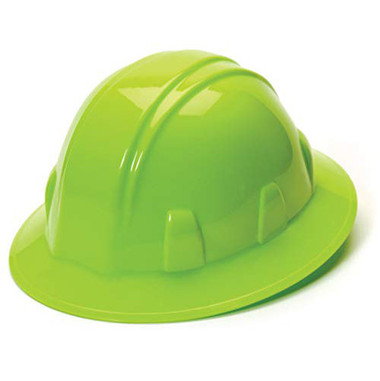 Pyramex 4 Point Full Brim Style with RATCHET Suspension Lime - Oblique View