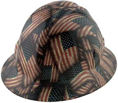 Large Second Amendment Flag Full Brim Style Hydro Dipped Hard Hats ~ Oblique View