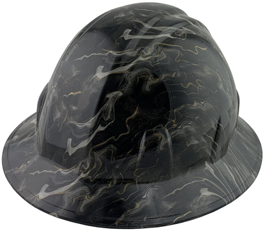 Black and Gold Oil Spill Design Full Brim Style Hydro Dipped Hard Hats - Oblique View