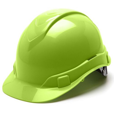 Pyramex Ridgeline Cap Style Hard Hats Hi Viz Lime - Oblique View