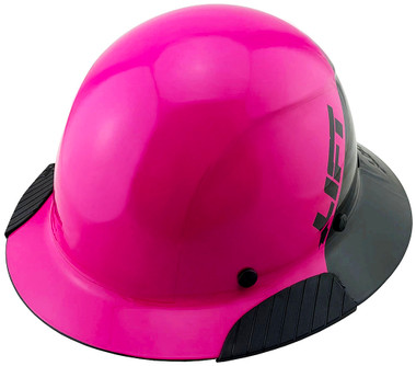 DAX Fiberglass Composite Hard Hat - Full Brim Glossy Black and High Vision Pink - Oblique View