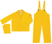 MCR Classic FR Rainsuits, 35 Mil Yellow PVC 3 piece Rainsuit- Size Medium