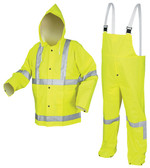 MCR Luminator 38 mm, PVC 3 Piece Class III Rainsuit Yellow with Silver Stripes- Size Small