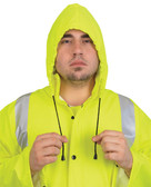 MCR Luminator 40 mm, PVC 2 Piece Class III Rain Coat Yellow with Silver Stripes- Size Medium
