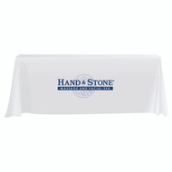 Hand and Stone 3-sided 6 Foot Tablecloth - White