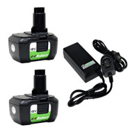 2 Pack Replacement Lithium-ion Battery & Charger set for DeWALT 18V Battery