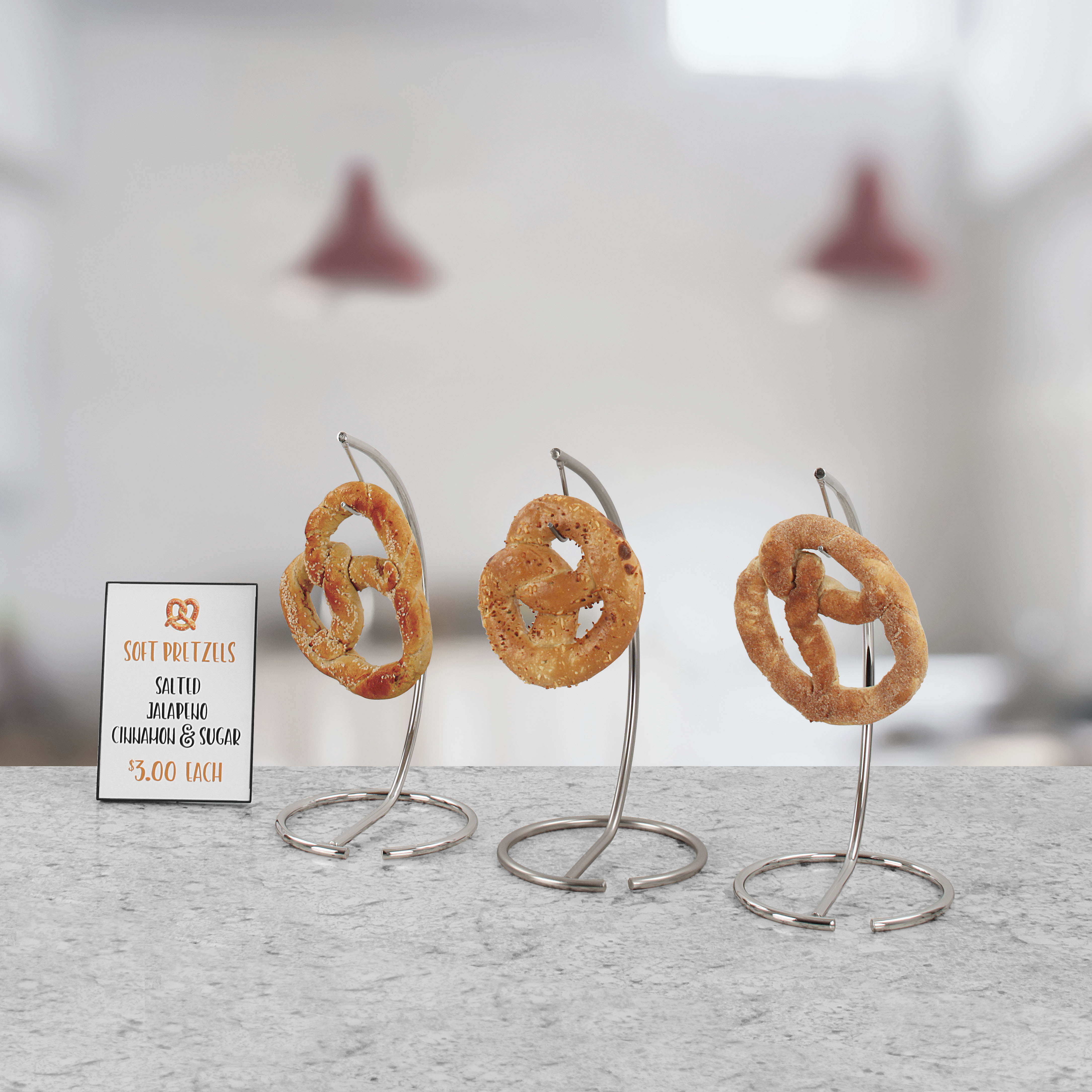 line of single pretzel holders