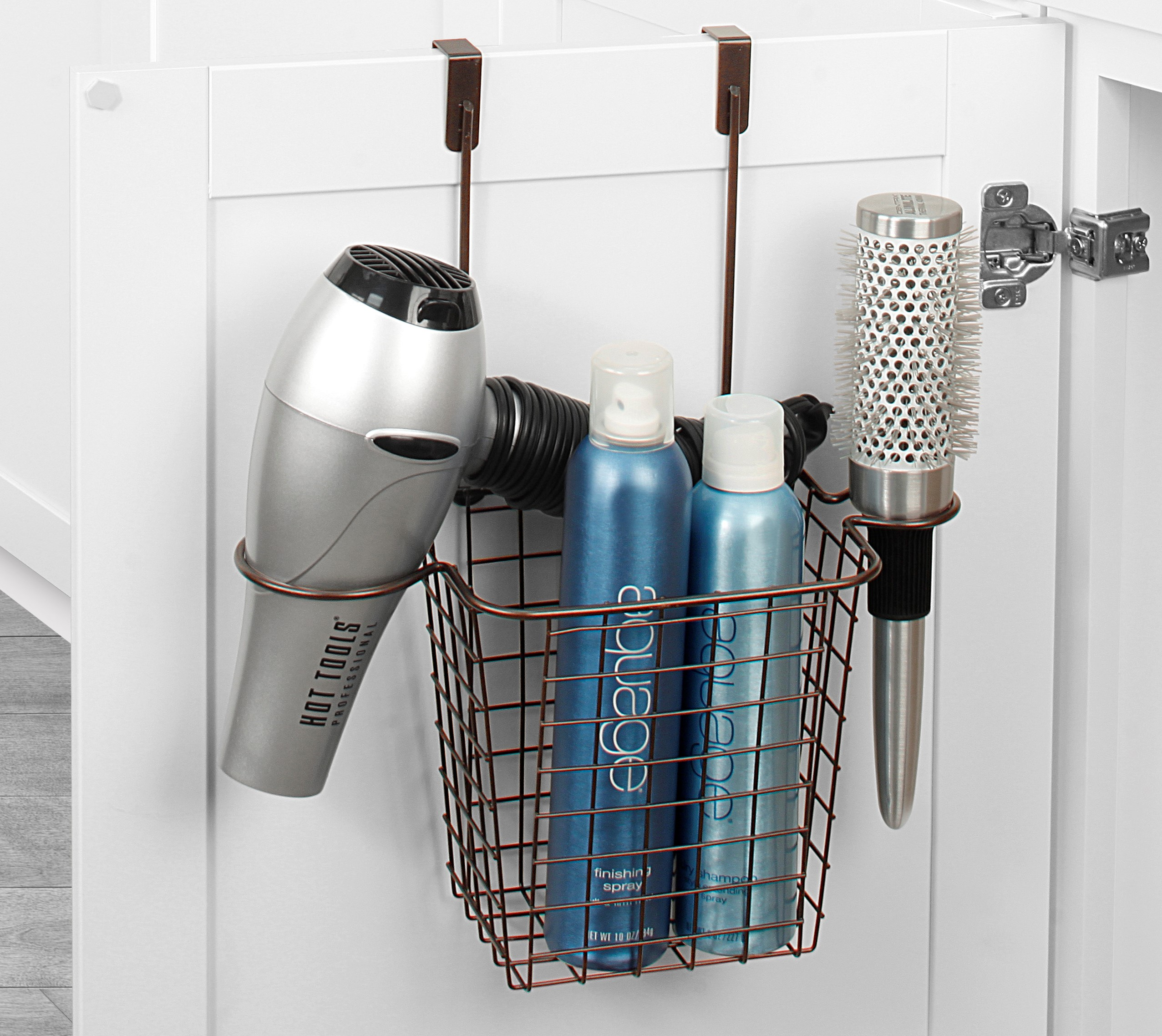 over the cabinet storage bathroom organization