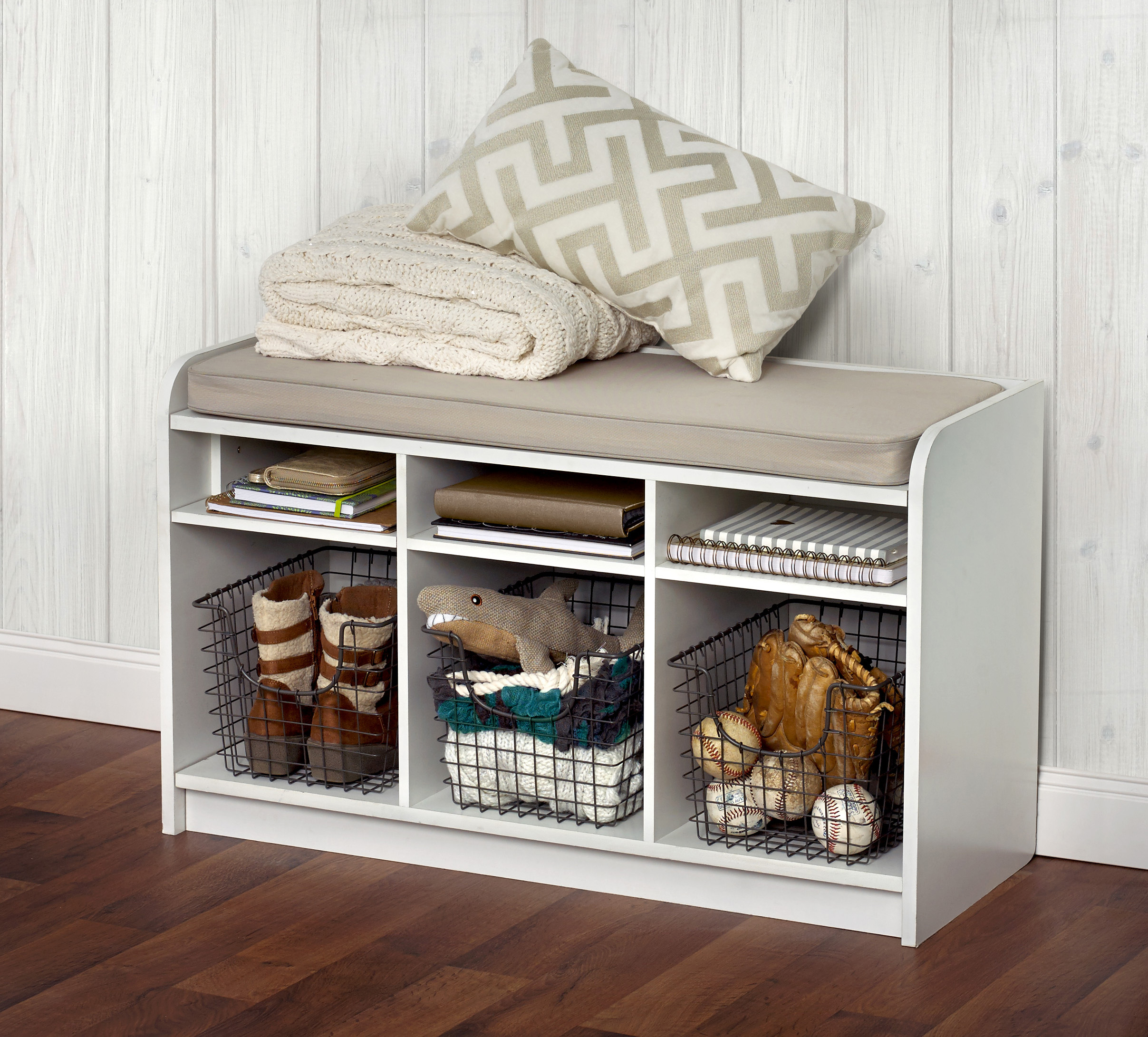 entryway organization wire baskets under bench fall accessory storage