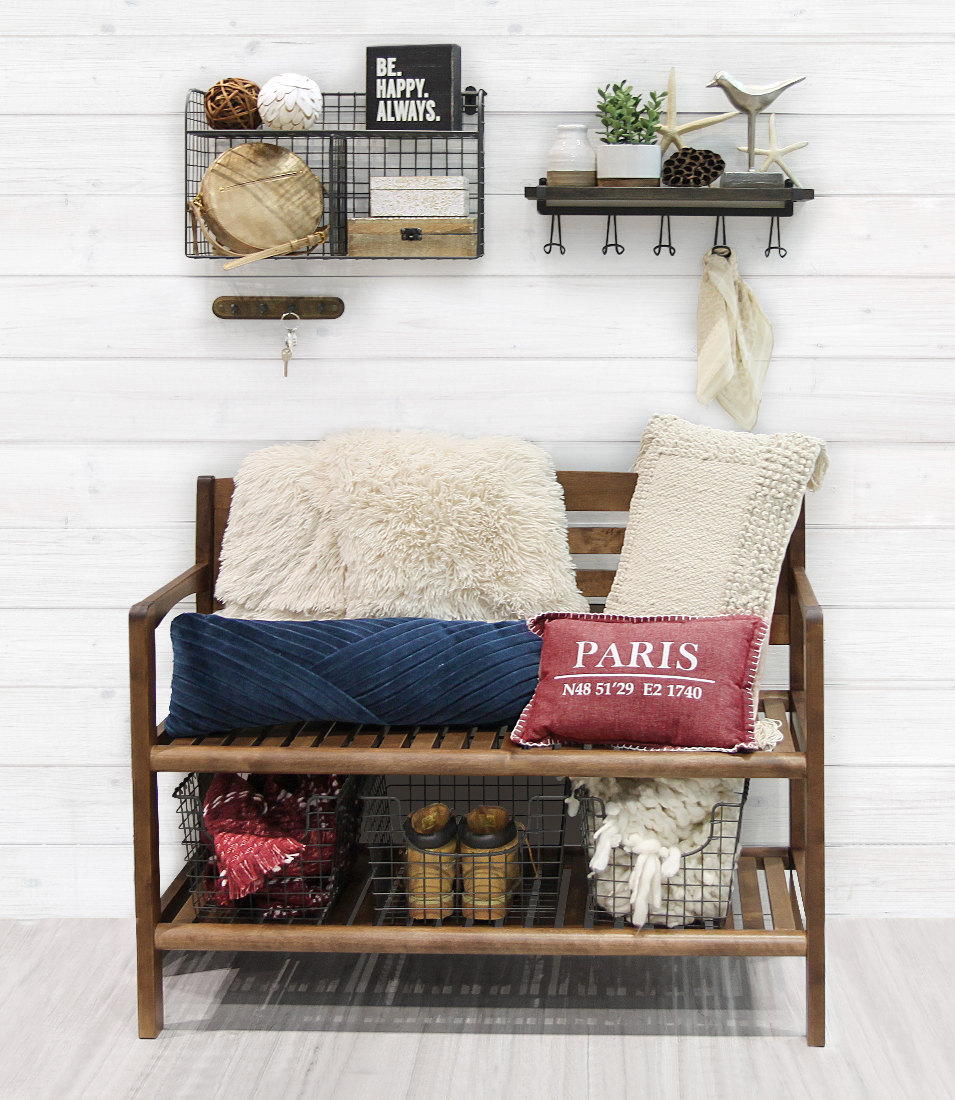 entryway organization station with wire baskets, hooks and bins