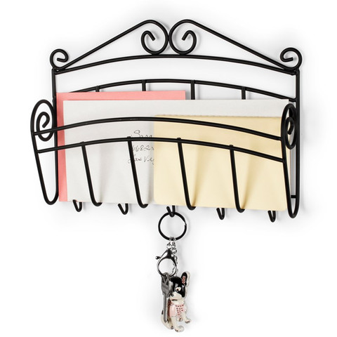 Scroll Wall Mount Letter Holder & Key Rack